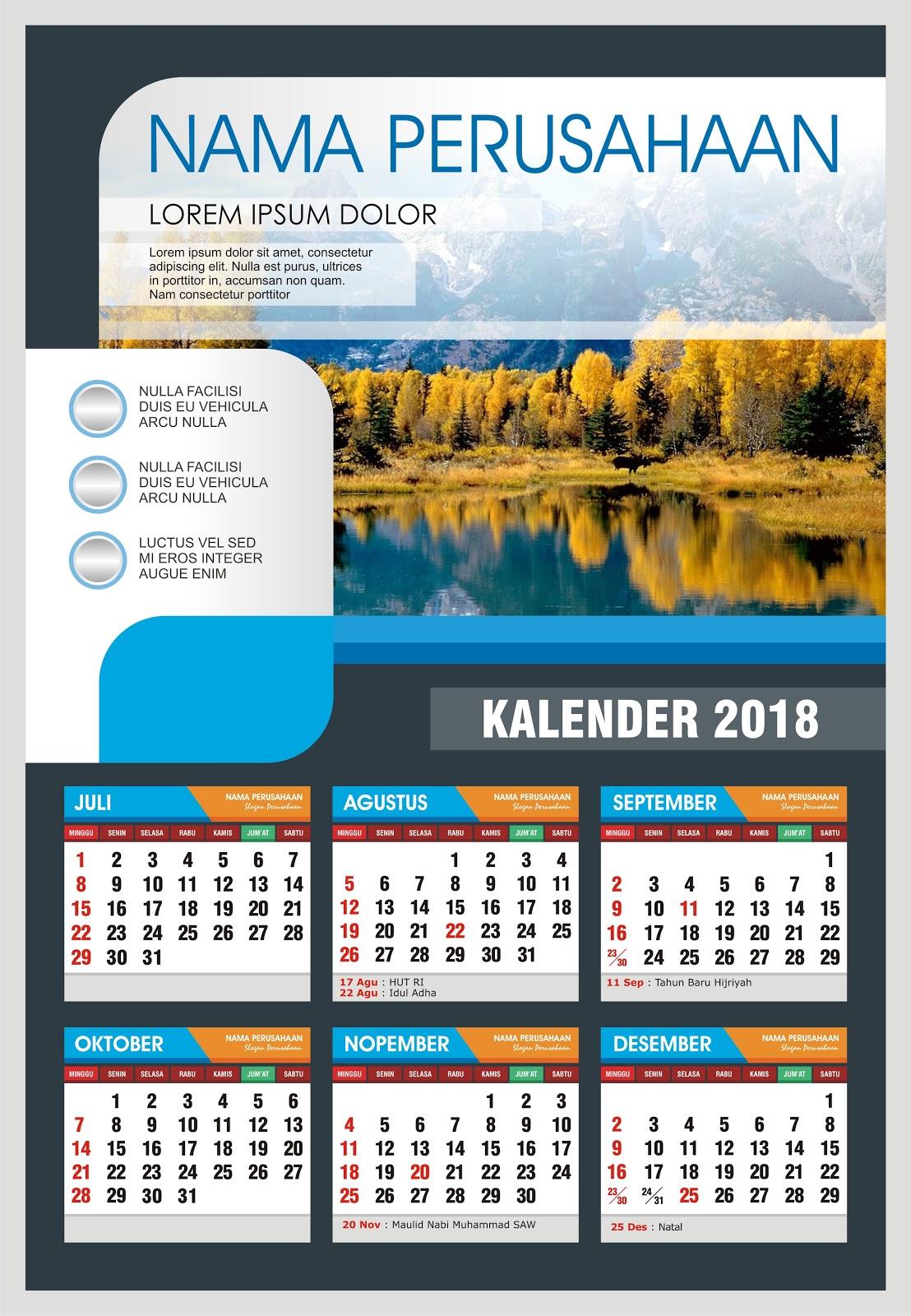 35+ Desain Kalender Sekolah Keren Cdr