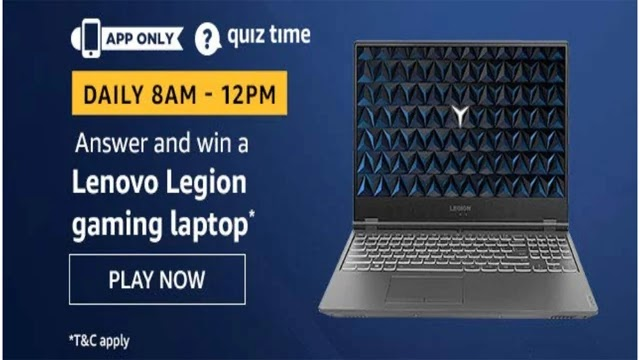 Amazon Lenovo Legion Gaming Laptop Quiz Answers - Today 14 March 2020