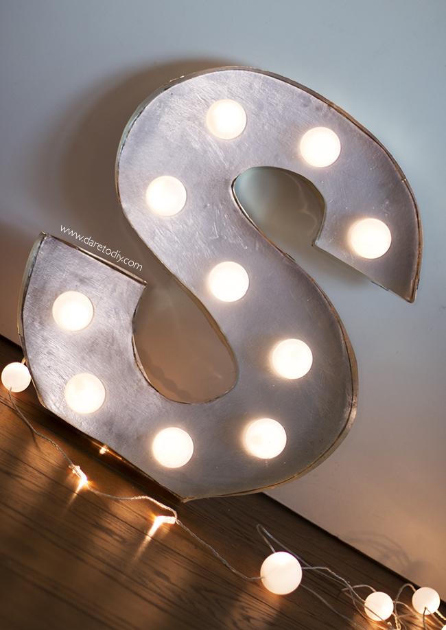 Dare to diy diy c mo hacer letras luminosas room decor 2 for Letras decoracion metal