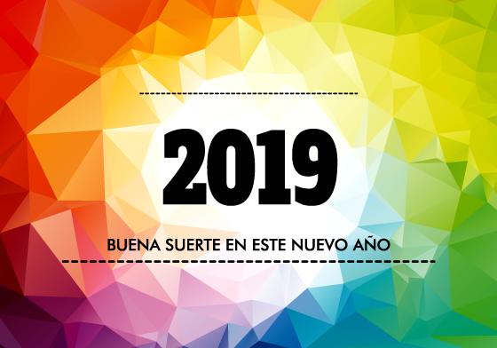 Cabecera de calendario 2019 de triángulos multicolores