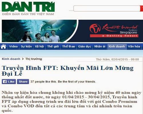 Truyền Hình Internet FPT Trên Các Trang Tạp Chí Uy Tín 1