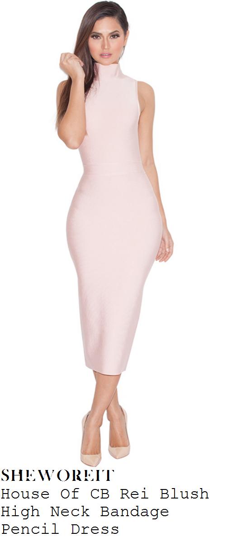 65458797d8fa Vicky Pattison's House Of CB Rei Nude Blush Pink Sleeveless High Neck  Racerback Bodycon Bandage Pencil Midi Dress