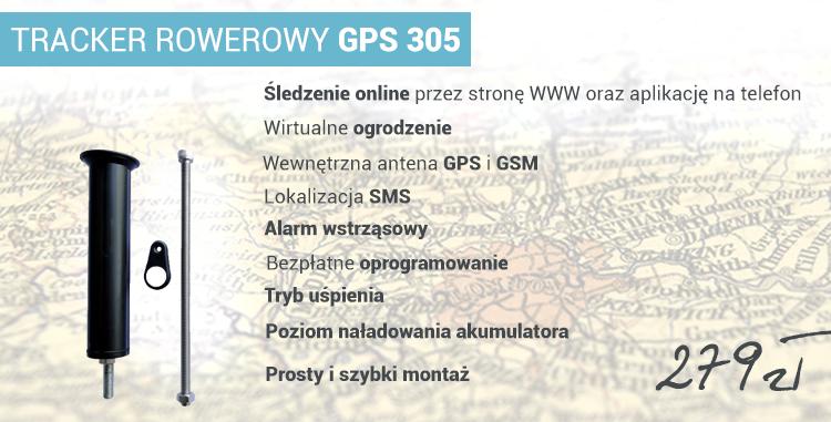 Specyfikacja produktu: TRACKER ROWEROWY GPS 305