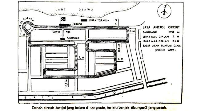 layout bentuk denah sirkuit Ancol pra renovasi