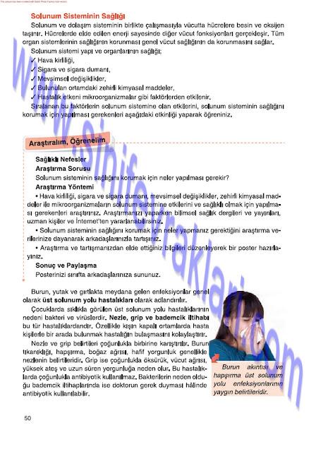 6. Sınıf Fen Bilimleri Tuna Matbaa Yayınları Ders Kitabı Cevapları Sayfa 50