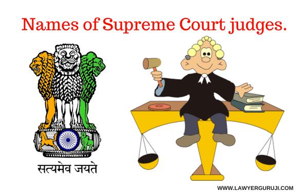 उच्चतम न्यायालय के न्यायधीशो के नाम।    Names of Supreme Court judges.