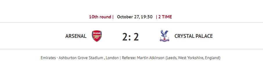 Arsenal - Crystal Palace 2: 2