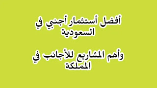 أفضل الإستثمارات الأجنبية في السعودية - اهم 7 مشاريع للأجانب في السعودية