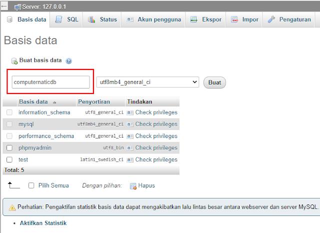 database di localhost