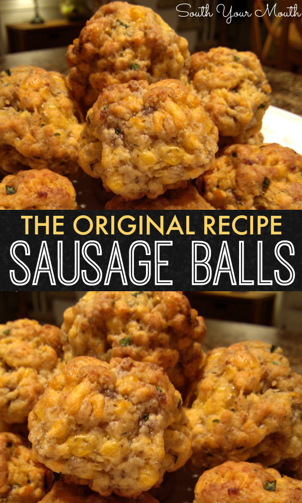 The original recipe for sausage balls using Bisquick, cheddar cheese and sausage. The perfect appetizer recipe for everything from tailgating to wedding receptions (and breakfast too!)