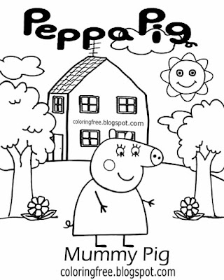 Playgroup sketching ideas Mummy Pig Peppa pig simple to copy printable family home coloring pictures