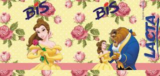 Etiquetas de La Bella y la Bestia con Rosas para imprimir gratis.