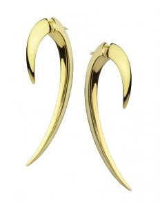 Unisex Shaun Leane Earrings Tusk Size 1 Gold Vermeil