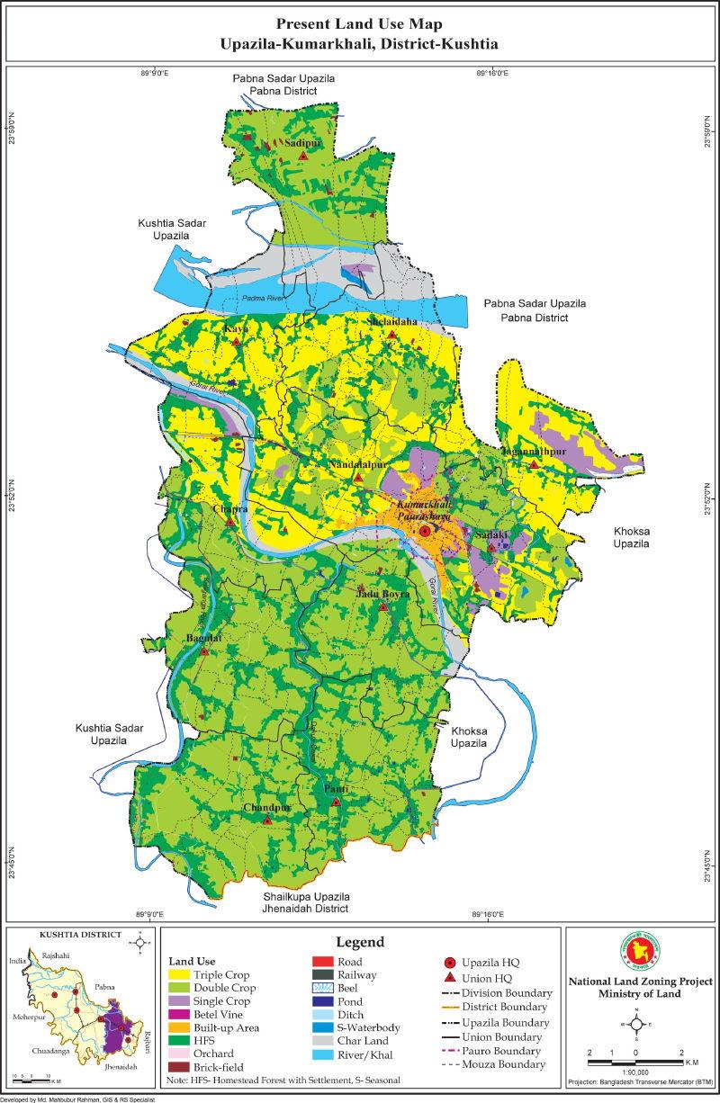 Kumarkhali Upazila Mouza Map Kushtia District Bangladesh