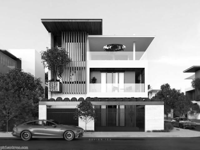 render 3d mặt đứng biệt thự phố hiện đại mới nhất - trắng đen