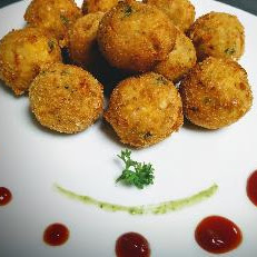 Serving corn cheese balls with tomato sauce for corn cheese balls recipe