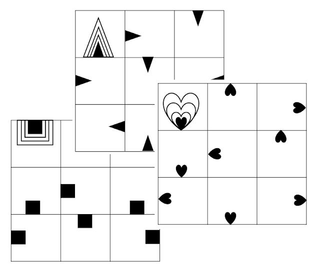 na zdjęciu widzimy trzy plansze z ćwiczeniami grafomotorycznymi, w których trzeba dorysować linie według wzoru np w kształcie trójkąta, kwadratu czy serca