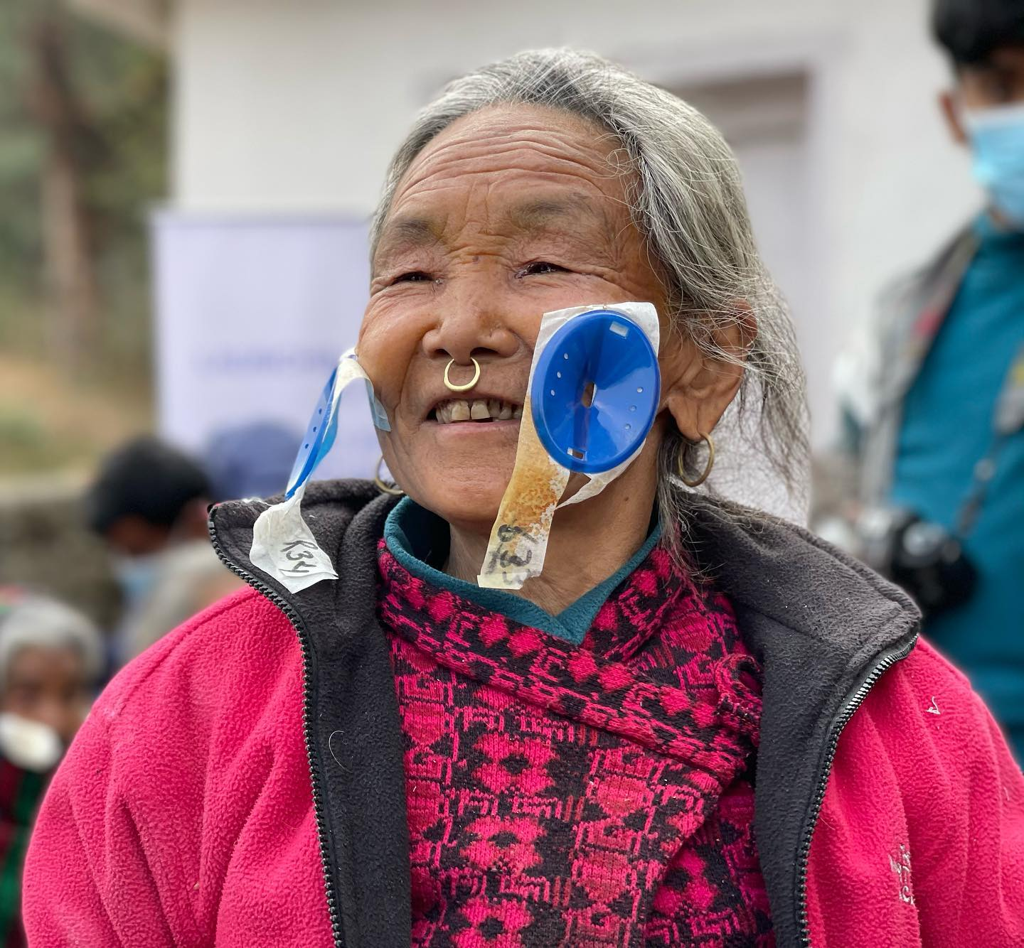 Smile after catarct surgery on women face of Remote Nepal