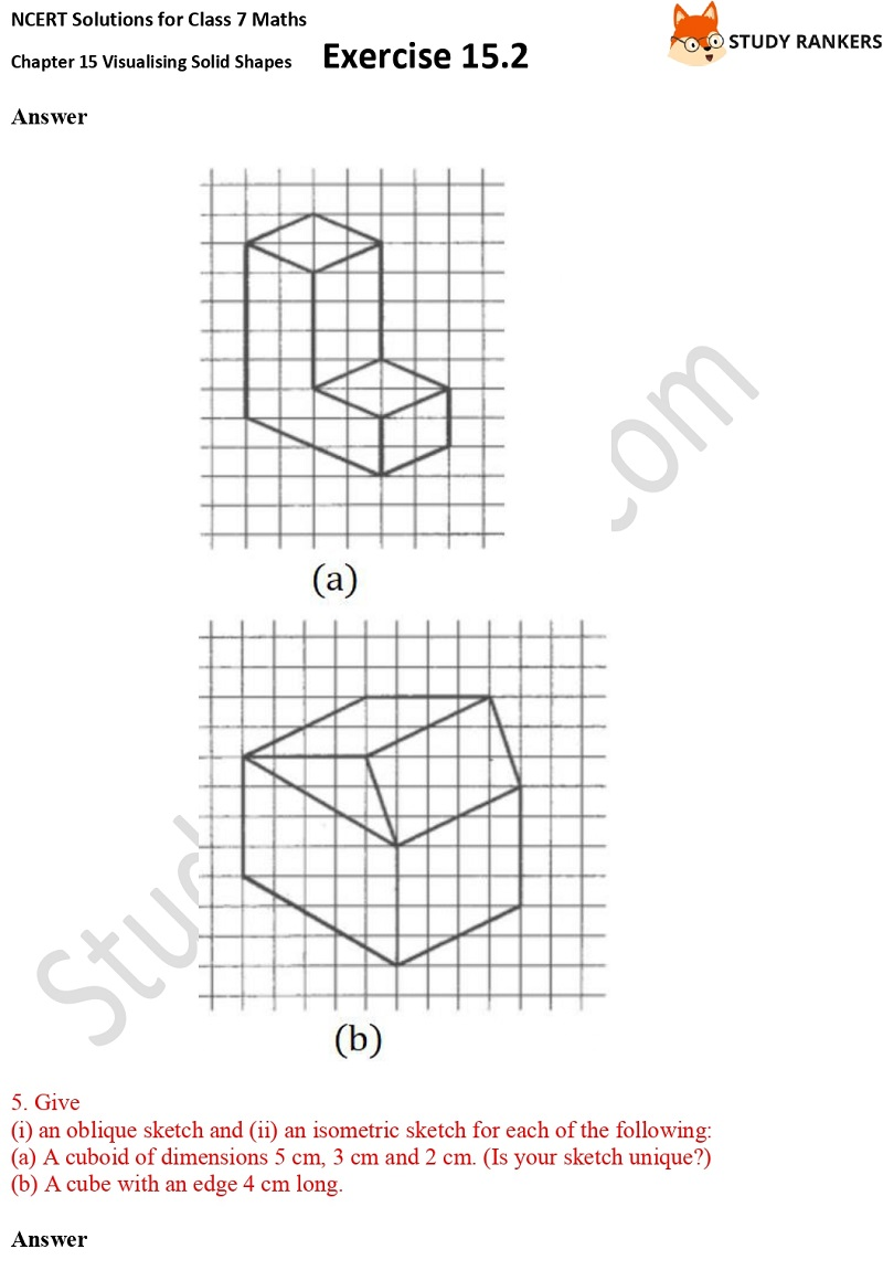 NCERT Solutions for Class 7 Maths Chapter 15 Visualising Solid Shapes Exercise 15.2 Part 4