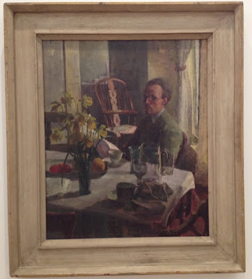 Self-Portrait at a table with glasses and flowers, Maurice de Sausmarez, 1949, Private Collection, London.