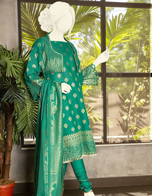 J. Junaid jamshed winter collection Green printed jacquard suits
