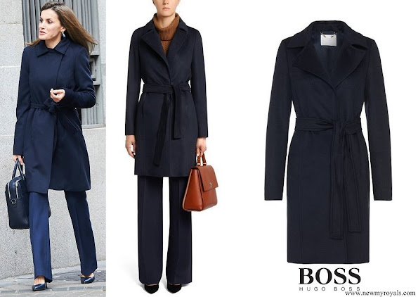 Queen Letizia wore HUGO BOSS Canika1 Wool With Wrap Belt Coat