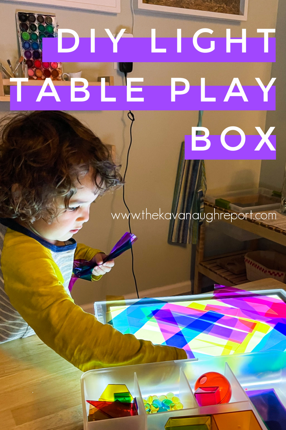 A DIY light table play box for 4-year-olds. This Montessori friendly toy is perfect for a variety of fun learning activities.