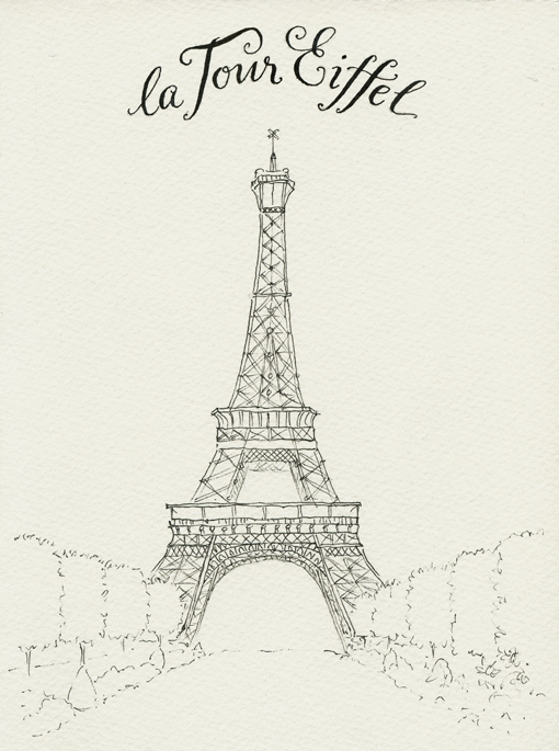 Line Drawing Eiffel Tower : Everyday artist france sketchbook eiffel tower step by