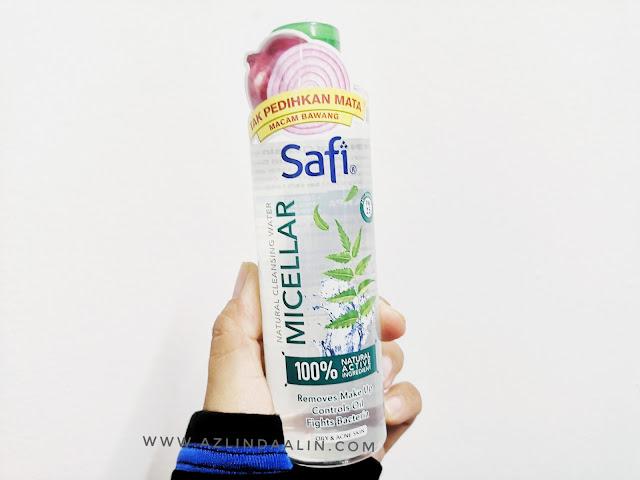SAFI MICELLAR NATURAL CLEANSING WATER PEMBERSIH MAKE UP TIDAK MEMEDIHKAN MATA