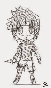 4 Langkah menggambar sasuke uchiha