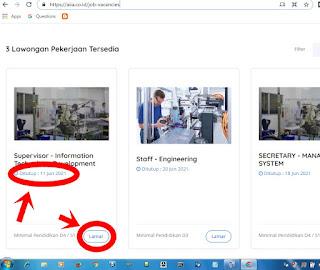 cara daftar kerja pt aisin indonesia via online