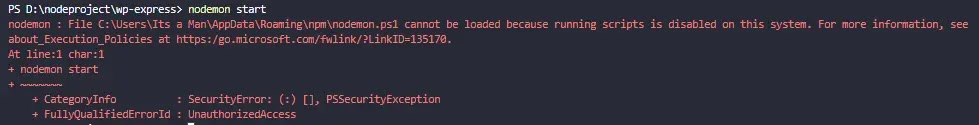 nodemon.ps1 error