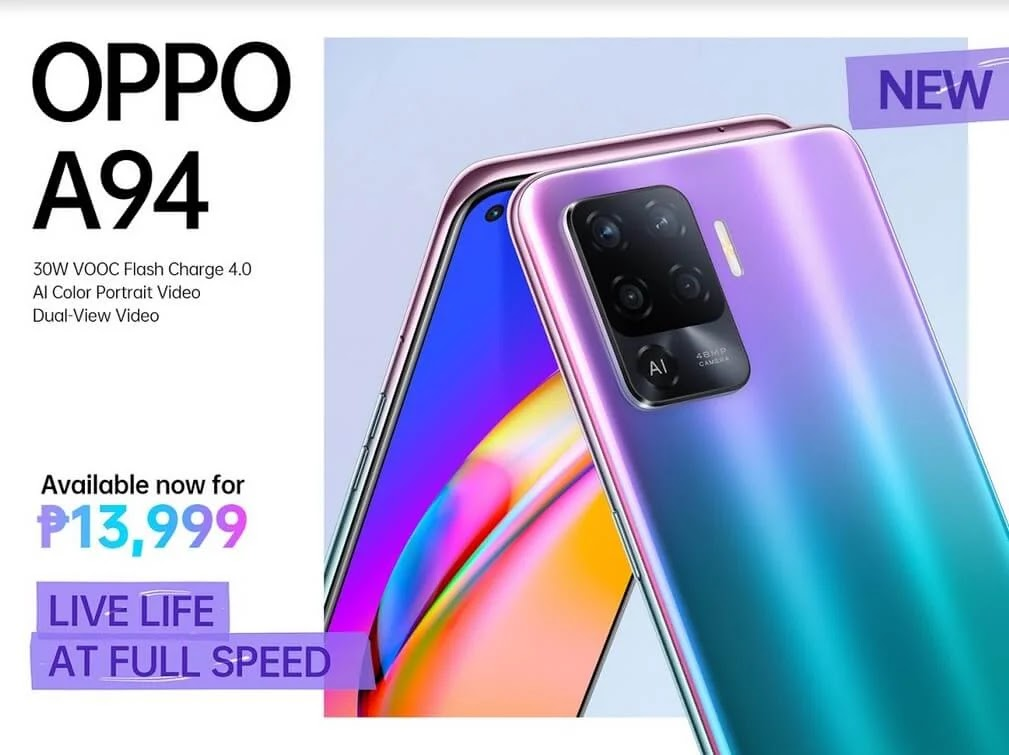 OPPO A94 with 30W VOOC Flash Charge and Dual-View Video Launches in PH for Only Php13,999