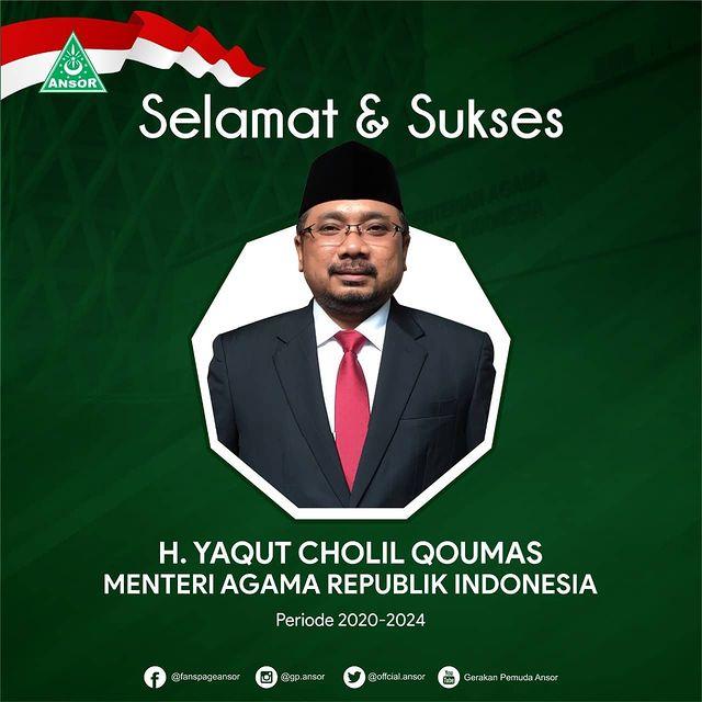 Ucapan Selamat Gus Yaqut Menjadi Menteri Agama