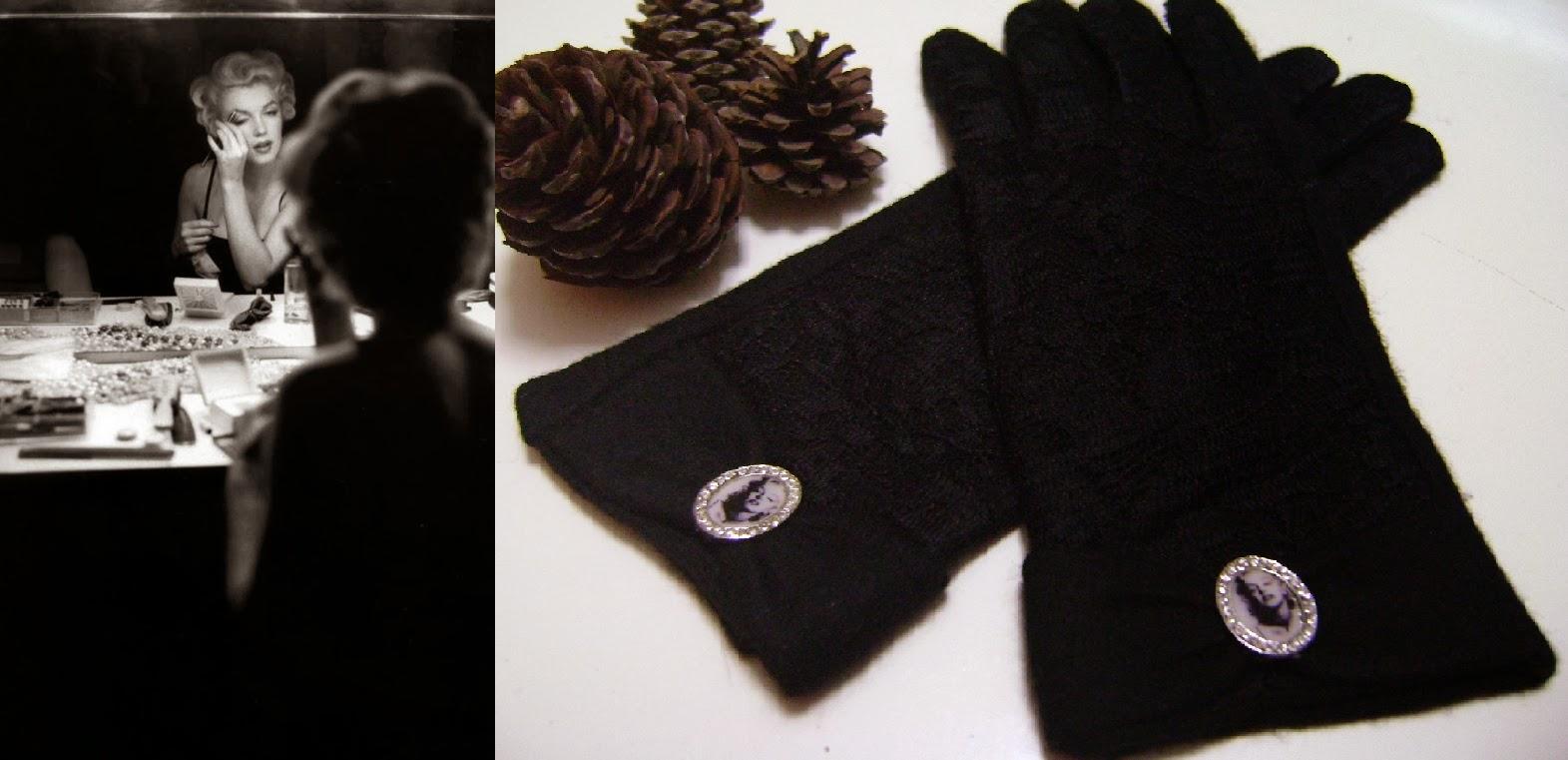 marilyn monroe siyah dantel kaşe eldiven
