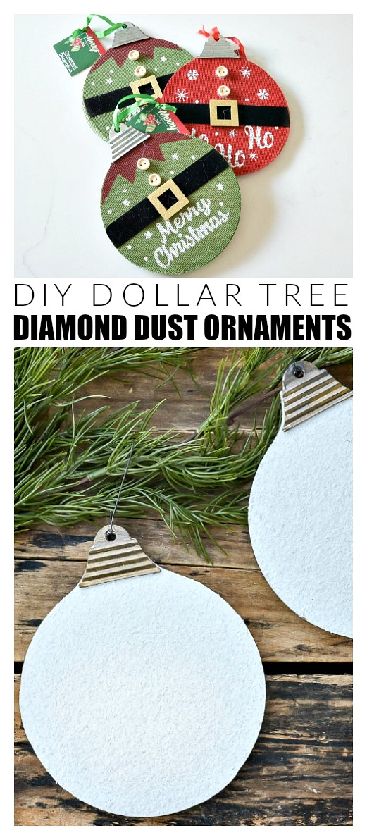 DIY Dollar Tree diamond dust ornaments