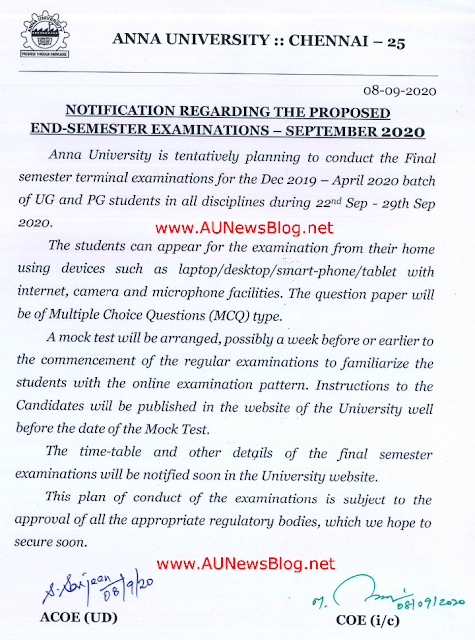 Anna University Final Years Online Exam 22nd to 29th September 2020