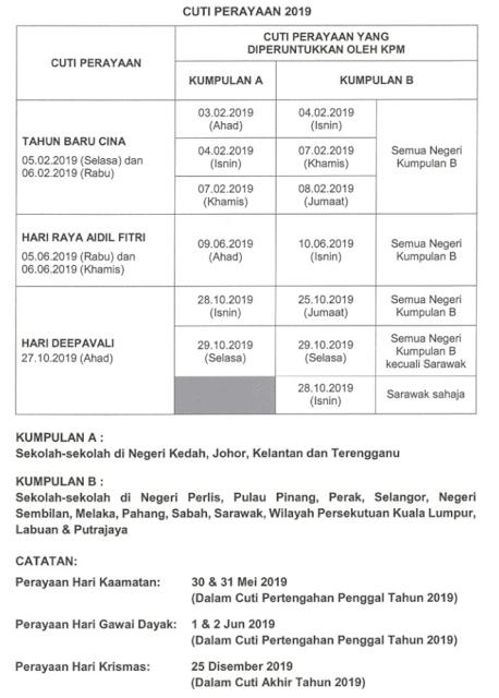 Jadual Cuti Sekolah Oleh KPM Sempena Deepavali 2019