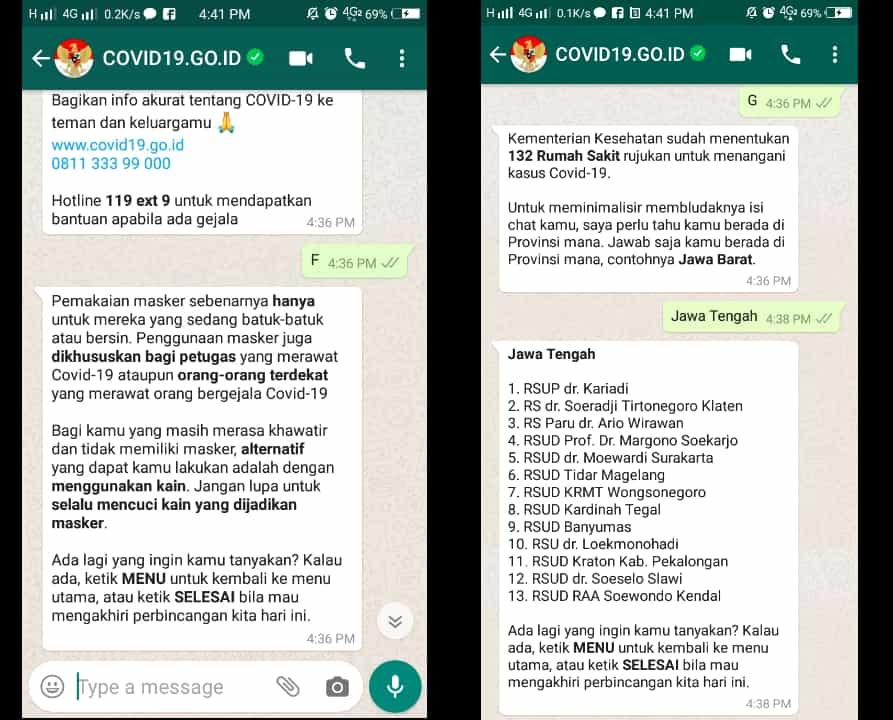 Penggunaan Chatbot Whatsapp Covid-19 Kominfo