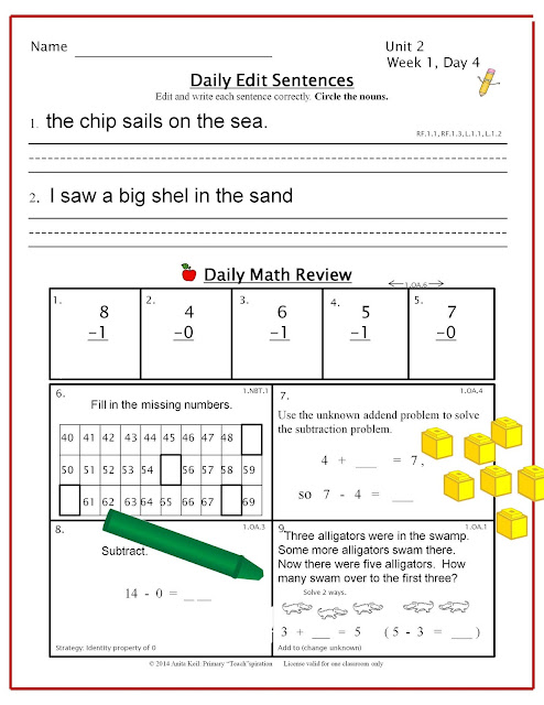 Read about an easy and effective way to make sure your first graders are learning the Common Core skills. #firstgradecommoncore, #firstgrademorningroutine