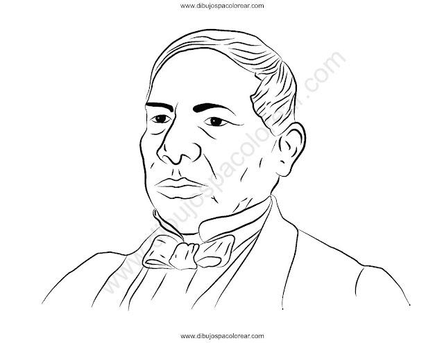 Dibujo Benito Juárez para colorear