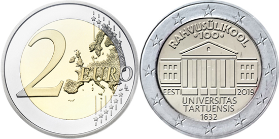 Estonia 2 euro 2019 - Centenary of the Estonian language University of Tartu