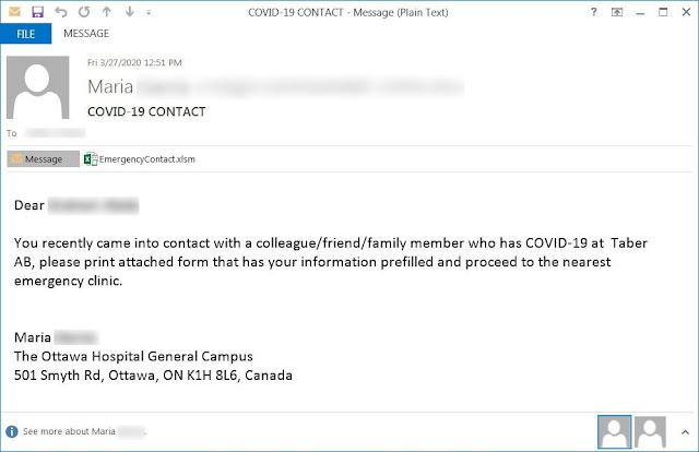 Correo electrónico de phishing con temática de coronavirus