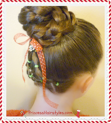 Easy Christmas tree hairstyle tutorial.