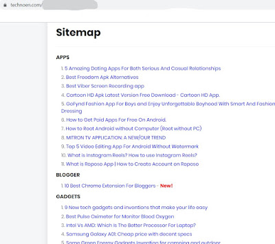 Sitemap/ Table of Content On Blogger