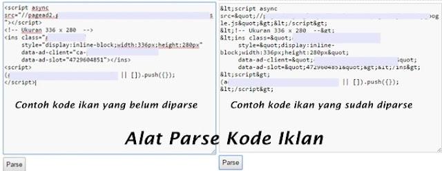 Alat Parse Kode HTML Blogger Gratis dan Cara Memparse Kode Iklan Adsense
