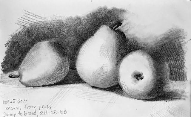 Daily Art 11-25-17 still life sketch in graphite number 33 - drawn from photo reference of my pear still life