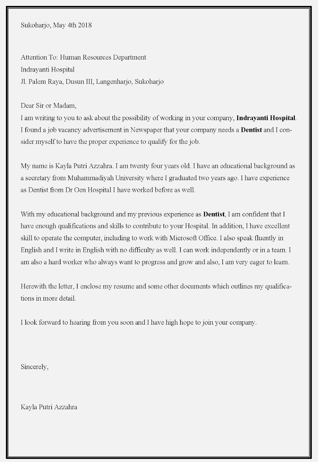 Contoh surat lamaran kerja dokter umum  utuk melamar di rumah sakit Indrayanti solo baru