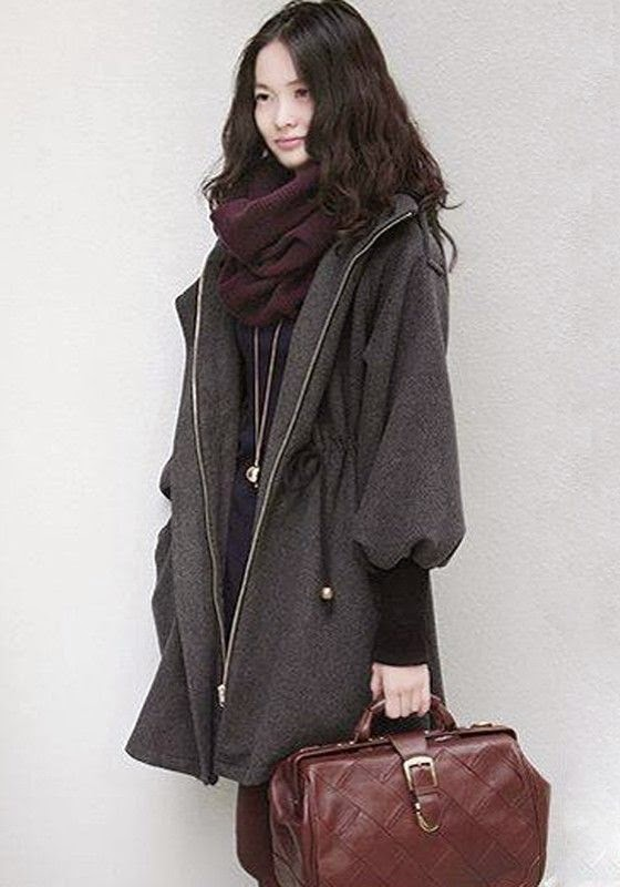 Dark Grey Plain Belt Puff Sleeve Wool Coat