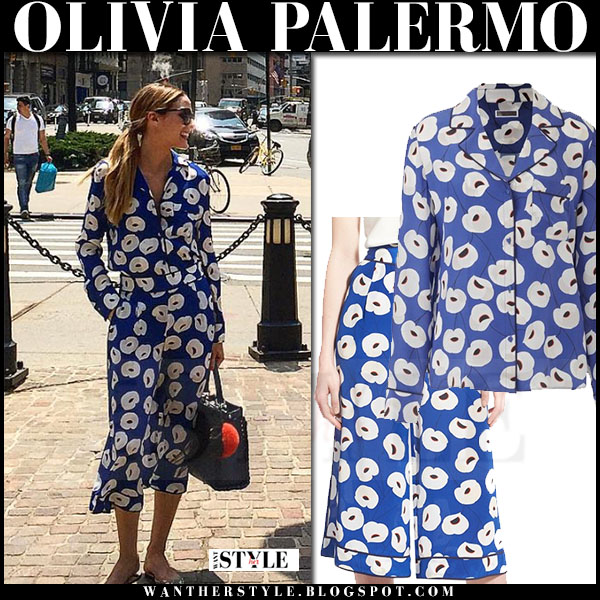 Olivia Palermo in blue floral print silk shirt and matching blue floral print culottes chelsea28 collection what she wore